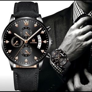 Men's Luxury fashion leather men's glass watch
